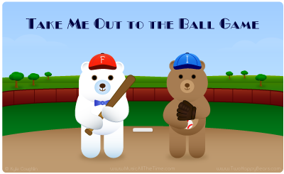 Take Me Out to the Ball Game with Two Happy Bears