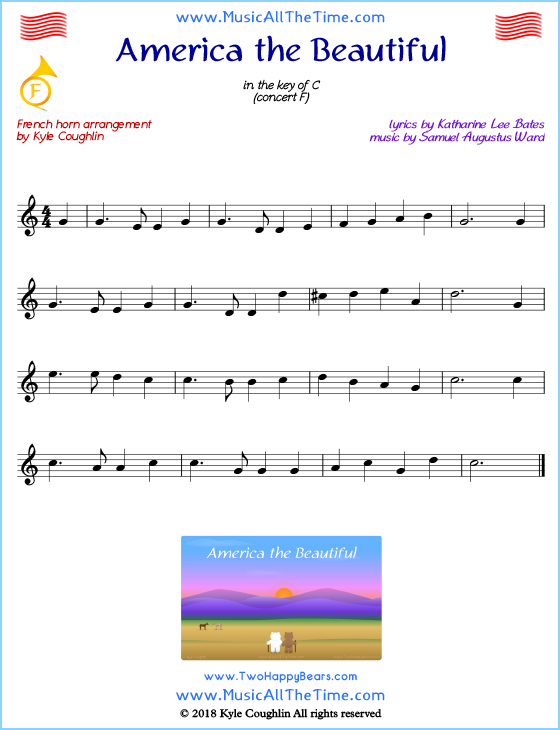 America the Beautiful French horn sheet music, arranged to play along with other wind and brass instruments. Free printable PDF.