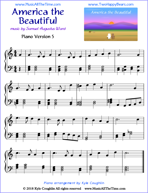 America the Beautiful advanced sheet music for piano. Free printable PDF.