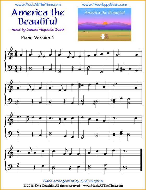america the beautiful piano sheet music  music all the time