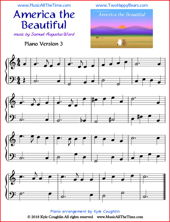 America the Beautiful simple sheet music for piano. Free printable PDF.