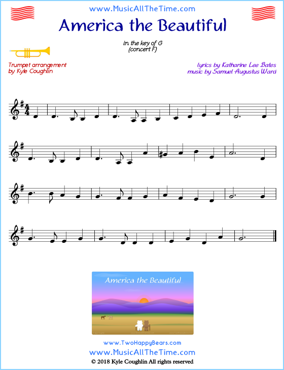 graphic relating to Free Printable Sheet Music for Trumpet titled The united states the Appealing Trumpet Sheet Songs
