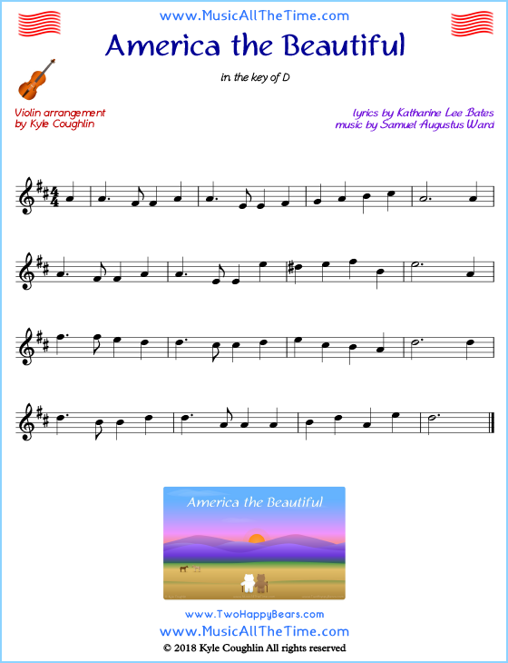 America the Beautiful violin sheet music, arranged to play along with other string instruments. Free printable PDF.