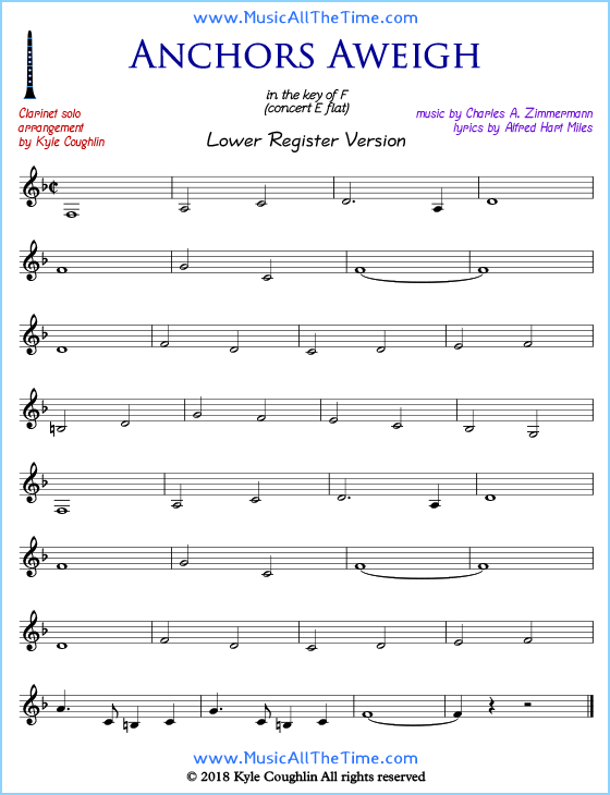 graphic about Free Printable Clarinet Sheet Music referred to as Anchors Aweigh Clarinet Sheet Audio