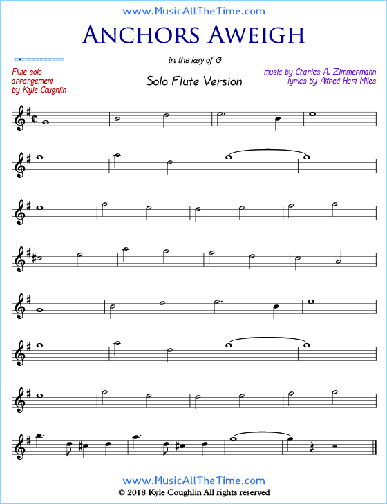 graphic about Printable Flute Sheet Music known as Anchors Aweigh Flute Sheet Tunes