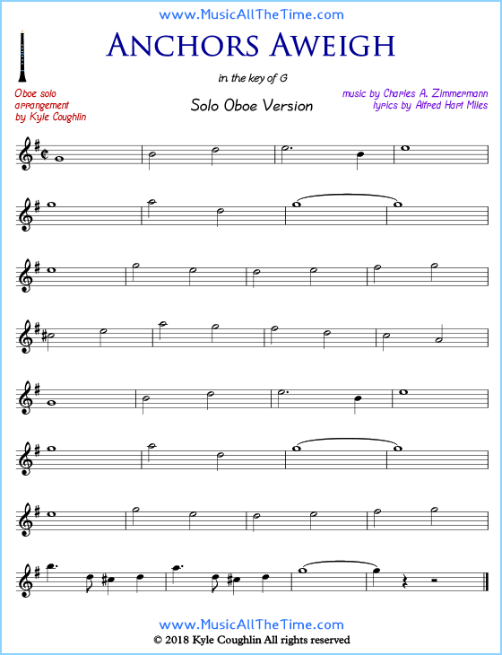 Anchors Aweigh solo oboe sheet music. Free printable PDF.