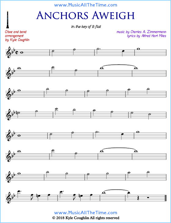 Anchors Aweigh oboe sheet music, arranged to play along with other wind and brass instruments. Free printable PDF.