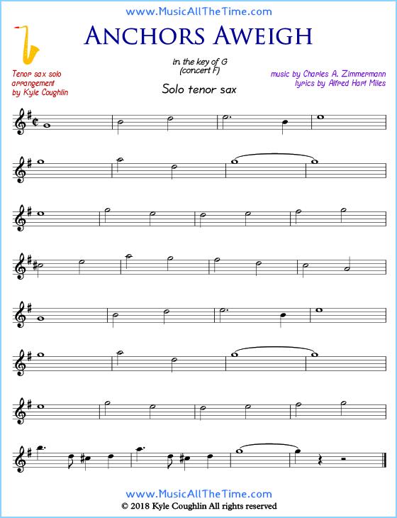 Anchors Aweigh Tenor Saxophone Sheet Music