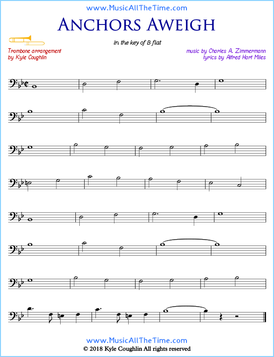 image relating to Free Printable Trombone Sheet Music named Anchors Aweigh Trombone Sheet Tunes