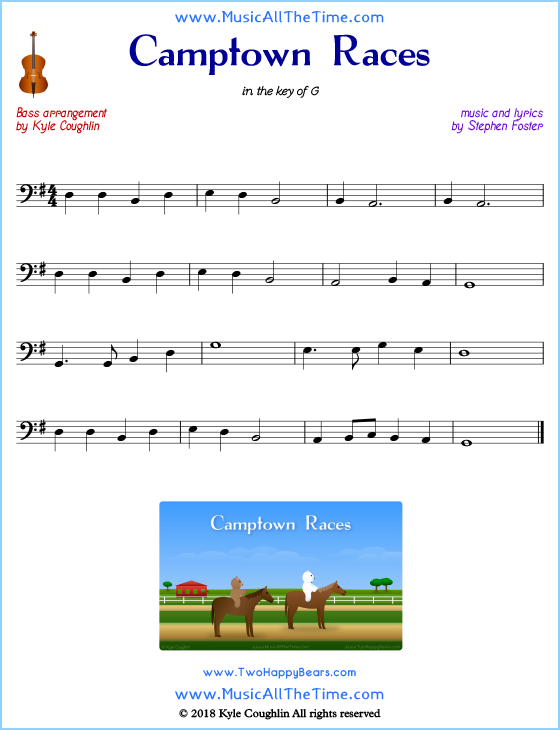 Camptown Races bass sheet music, arranged to play along with other string instruments. Free printable PDF.