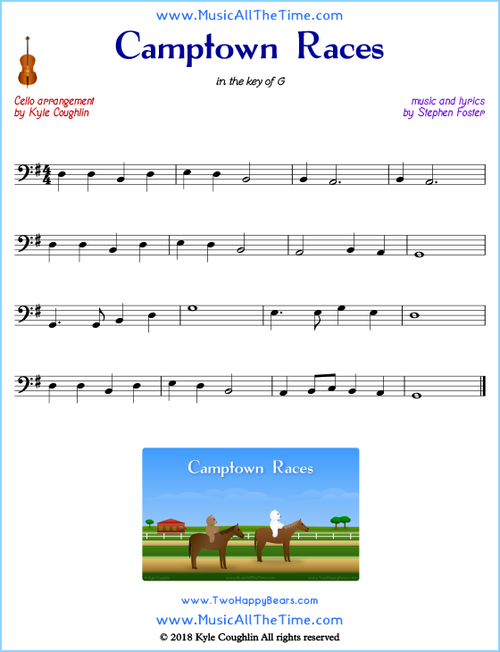 Camptown Races cello sheet music, arranged to play along with other string instruments. Free printable PDF.