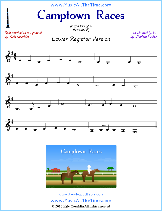 Camptown Races solo clarinet sheet music that is entirely in the lower register. Free printable PDF.