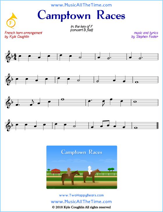 Camptown Races French horn sheet music, arranged to play along with other wind and brass instruments. Free printable PDF.