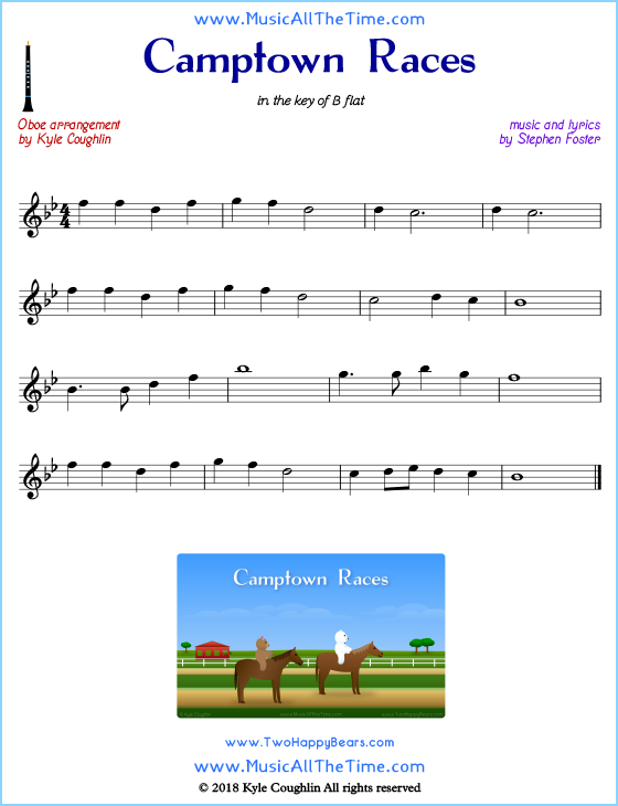 Camptown Races oboe sheet music, arranged to play along with other wind and brass instruments. Free printable PDF.