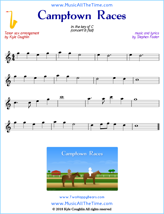 Camptown Races tenor saxophone sheet music, arranged to play along with other wind and brass instruments. Free printable PDF.