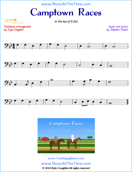 photograph about Free Printable Trombone Sheet Music known as Camptown Races Trombone Sheet Tunes