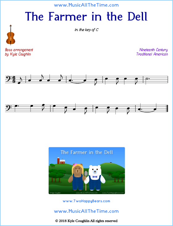 The Farmer in the Dell bass sheet music, arranged to play along with other string instruments. Free printable PDF.