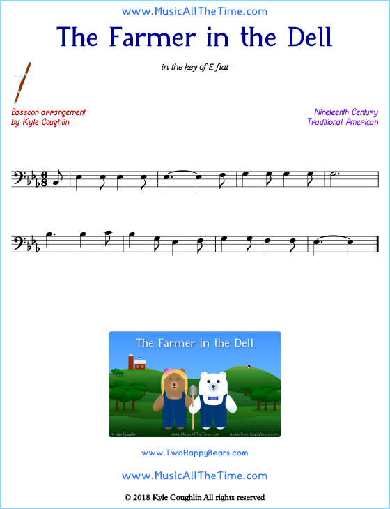 The Farmer in the Dell bassoon sheet music, arranged to play along with other wind and brass instruments. Free printable PDF.