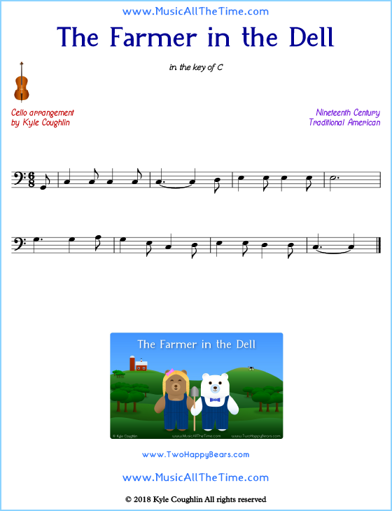 The Farmer in the Dell cello sheet music, arranged to play along with other string instruments. Free printable PDF.