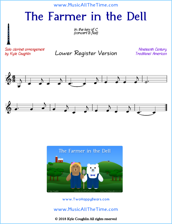 Farmer in the Dell solo clarinet sheet music. Free printable PDF.