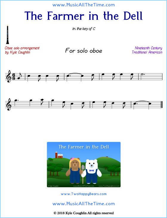 The Farmer in the Dell solo oboe sheet music. Free printable PDF.