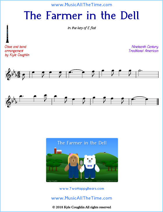 The Farmer in the Dell oboe sheet music, arranged to play along with other wind and brass instruments. Free printable PDF.