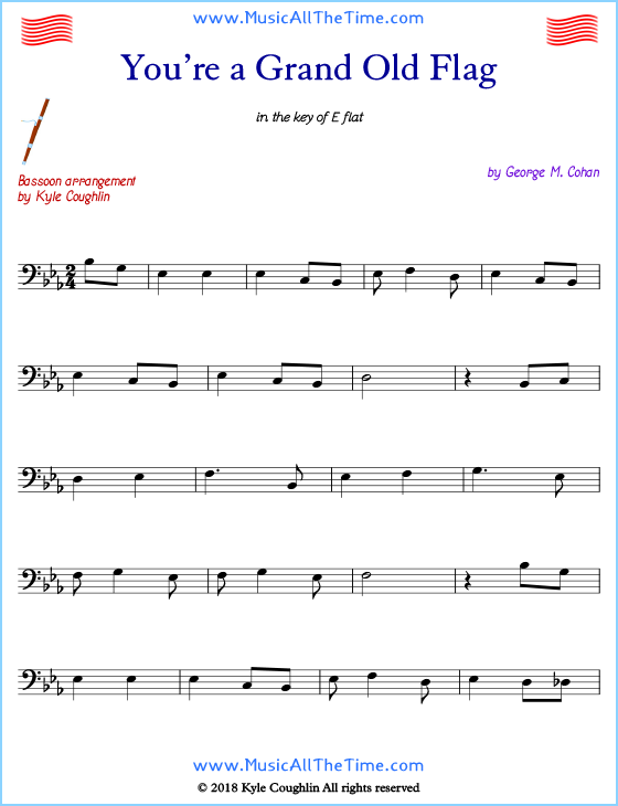 You're a Grand Old Flag bassoon sheet music, arranged to play along with other wind and brass instruments. Free printable PDF.