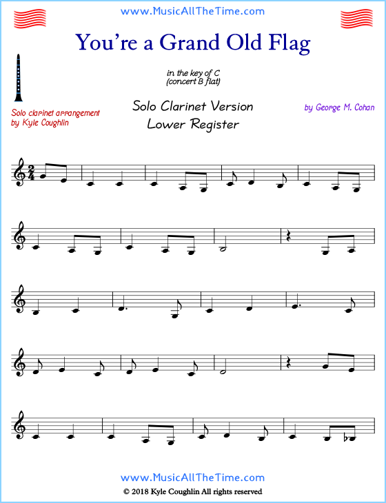 You're a Grand Old Flag solo clarinet sheet music that is entirely in the lower register. Free printable PDF.