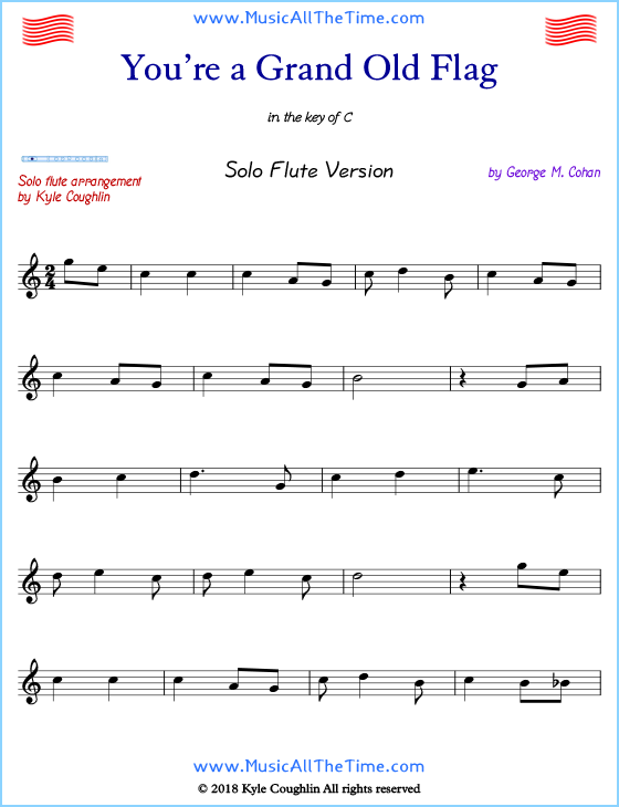 graphic relating to Free Printable Flute Sheet Music titled Youre a Grand Aged Flag Flute Sheet Songs