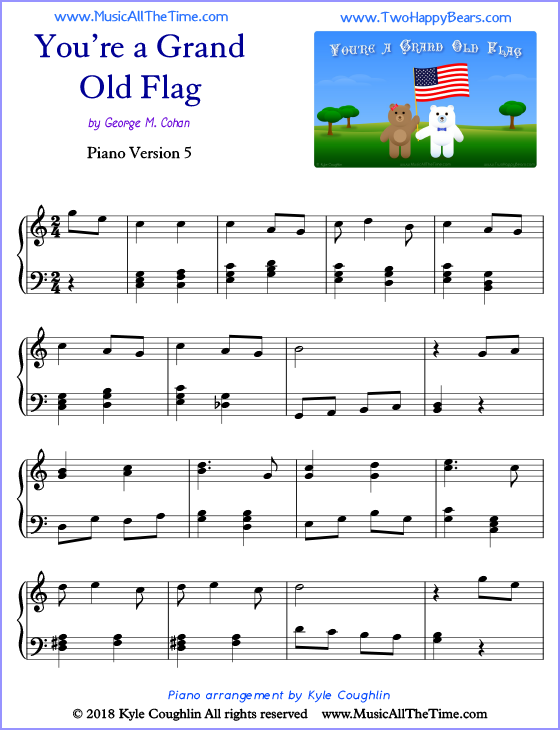 You're a Grand Old Flag advanced sheet music for piano. Free printable PDF.