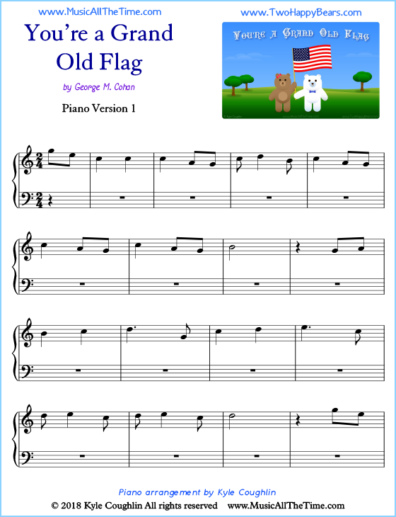 You're a Grand Old Flag beginner sheet music for piano. Free printable PDF.