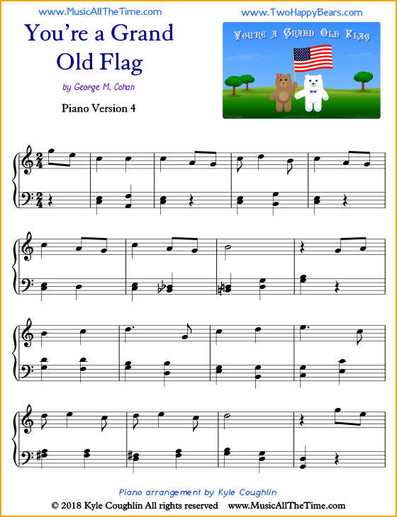 You're a Grand Old Flag intermediate sheet music for piano. Free printable PDF.