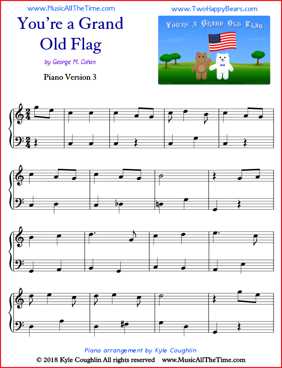You're a Grand Old Flag simple sheet music for piano. Free printable PDF.