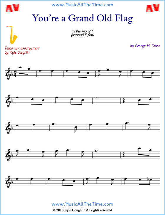 You're a Grand Old Flag tenor saxophone sheet music, arranged to play along with other wind and brass instruments. Free printable PDF.
