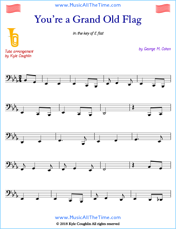You're a Grand Old Flag tuba sheet music, arranged to play along with other wind and brass instruments. Free printable PDF.