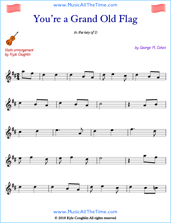 You're a Grand Old Flag violin sheet music, arranged to play along with other string instruments. Free printable PDF.