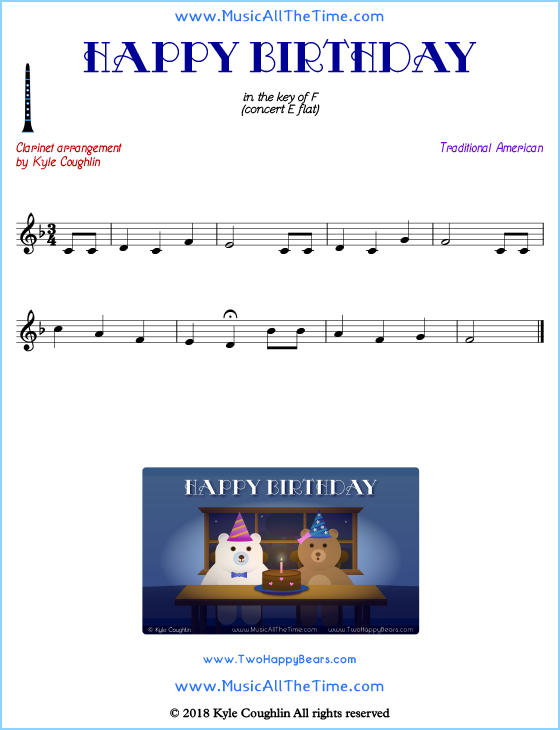 photo regarding Free Printable Clarinet Sheet Music titled Joyful Birthday Clarinet Sheet Audio