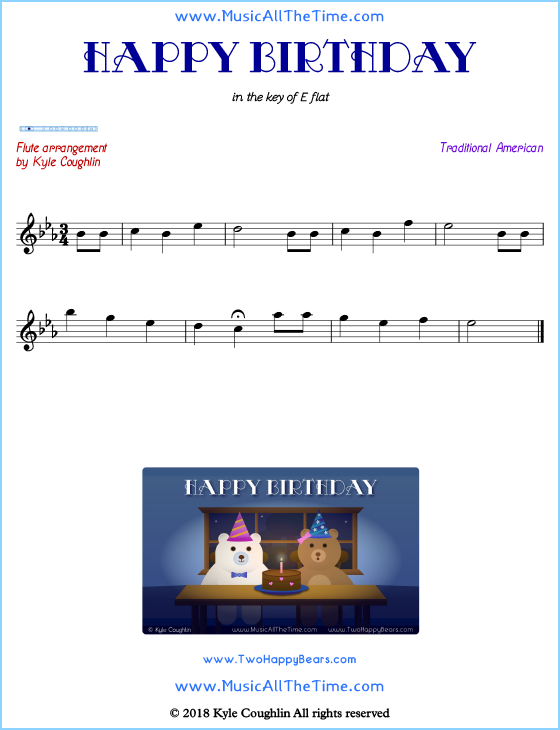 Happy Birthday flute sheet music, arranged to play along with other wind and brass instruments. Free printable PDF.