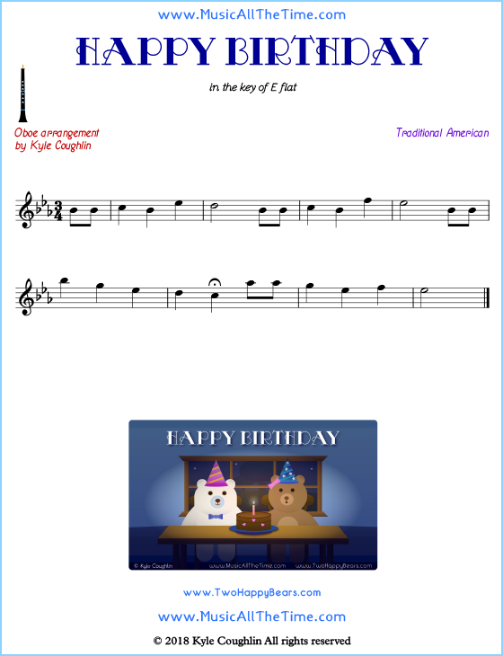 Happy Birthday oboe sheet music, arranged to play along with other wind and brass instruments. Free printable PDF.