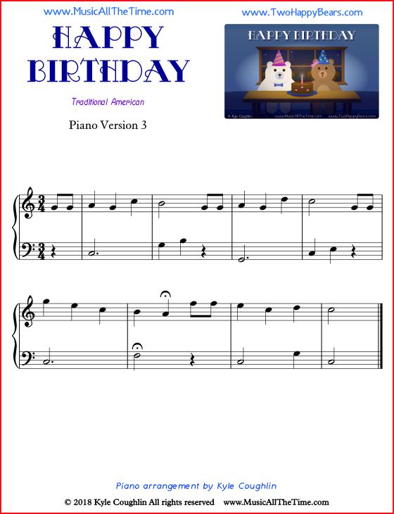 Happy Birthday Piano Sheet Music