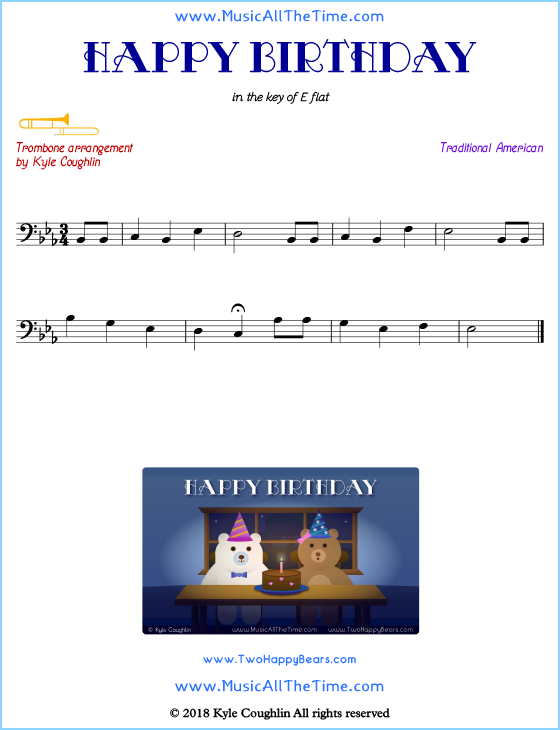 Happy Birthday trombone sheet music, arranged to play along with other wind and brass instruments. Free printable PDF.