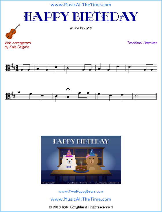Happy Birthday viola sheet music, arranged to play along with other string instruments. Free printable PDF.