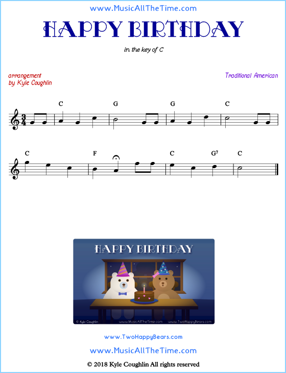 Happy Birthday lead sheet music with chords and melody. Free printable PDF.