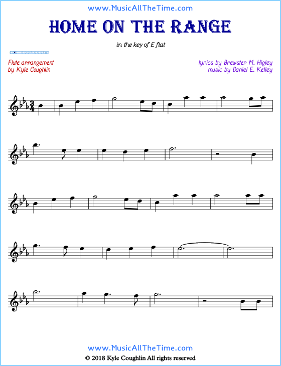 Home on the Range flute sheet music, arranged to play along with other wind and brass instruments. Free printable PDF.