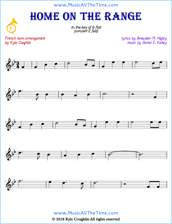 Home on the Range French horn sheet music, arranged to play along with other wind and brass instruments. Free printable PDF.