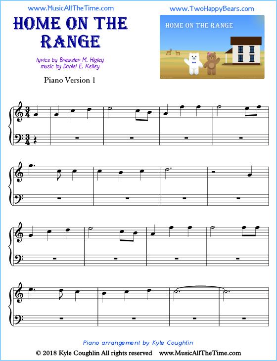 Home On The Range Piano Sheet Music