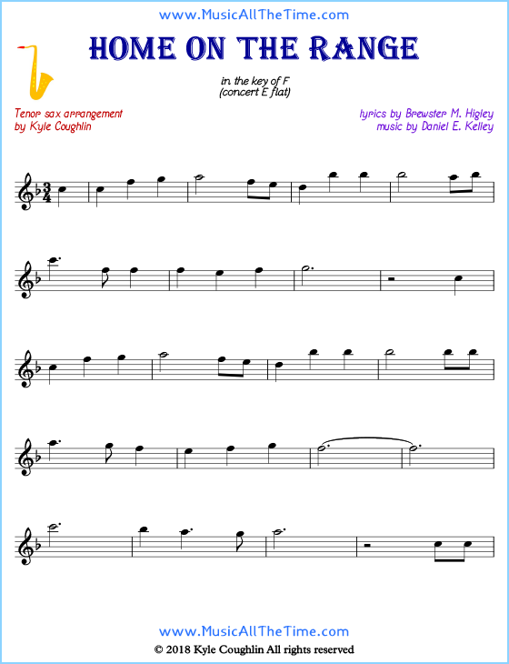 Home on the Range Tenor Saxophone Sheet Music