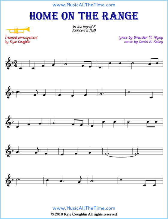 Home on the Range trumpet sheet music, arranged to play along with other wind and brass instruments. Free printable PDF.