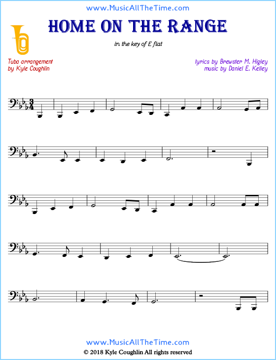Home on the Range tuba sheet music, arranged to play along with other wind and brass instruments. Free printable PDF.