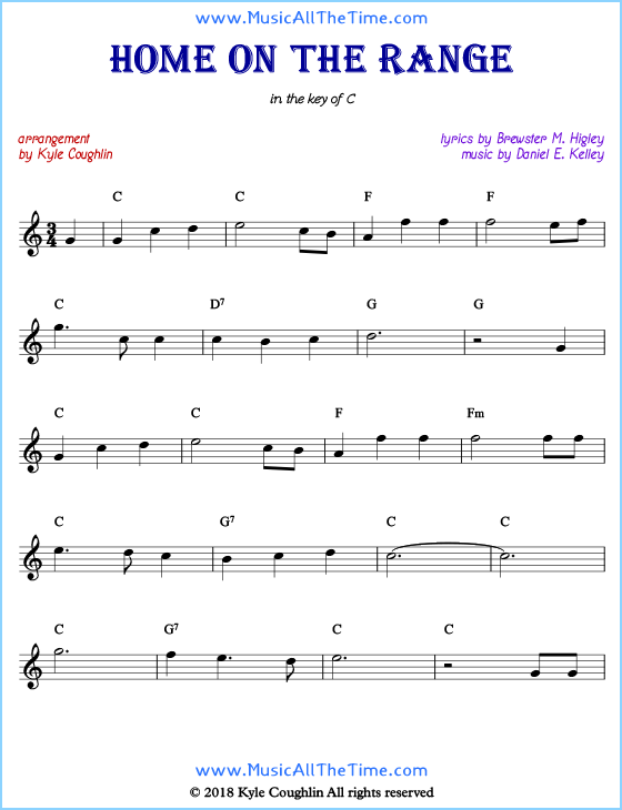 Home on the Range Sheet Music and History